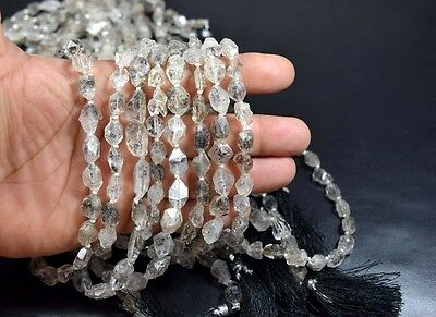 "8 Mm - 14 Mm  14 "" 100 % Natural Raw Herkimer Diamond Crystal Nuggets Strand"