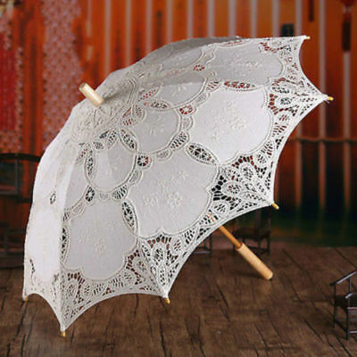 Lace Embroidered Parasol Umbrella Bridal Wedding Party Decor Fashion Gift