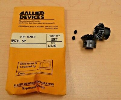 "(2) Allied Devices Corp. DN71S SP Miter gears 24T 3/8""-Bore 1-Mod 90-deg USA"