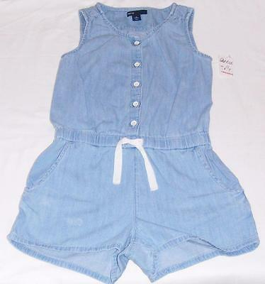 New Gap Kids Chambray Blue Denim Romper-S 6/7 Girls-Jean One Piece Shorts Outfit