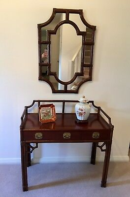 Cane Chinoiserie Console Table and Mirror