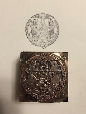 """Antique OES """"Order of the Eastern Star"""" Copper Letterpress Stamp"""