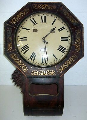 Antique 1800's Fusee Movement Drop Dial Hexagonal Faced Wall Clock