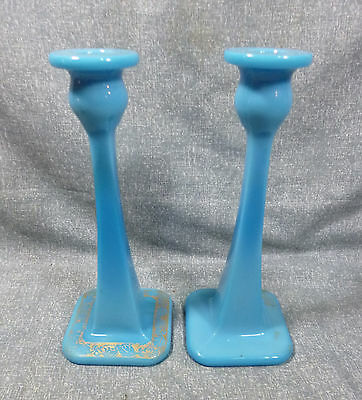 """1920's Cambridge Glass Co. 10"""" Azurite #68 Candlesticks with Gold Decoration"""