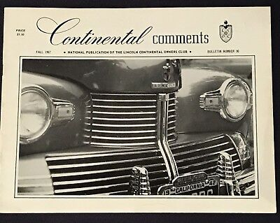 Continental Comments Lincoln Magazine Fall 1967 #90 Coupe Cabriolet Zephyr 1942