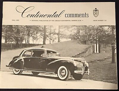 Continental Comments Lincoln Magazine Fall 1972 #110 1940 Production Mark II