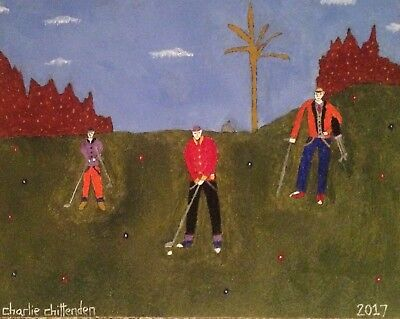Golfers on the Green Signed Original Oil Painting Canvas Charlie Chittenden