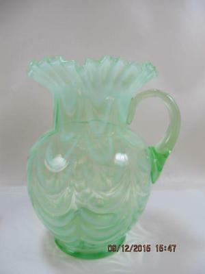 Vintage Fenton Large Green Opalescent Swirl Pitcher with Ruffled Edge Ice Lip