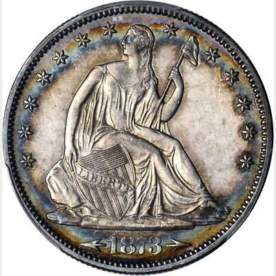 1873 Liberty Seated Half Dollar Proof PCGS PR 58 * PQ++ * POP 3 * COLOR TONED