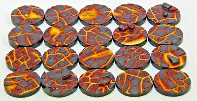 32mm round scenic Lava bases, Sci-fi fantasy by Daemonscape Qty10-50