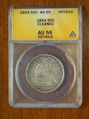 1854 Silver Seated Half Dollar 50C ANACS AU55 Details Cleaned Check Pics!!