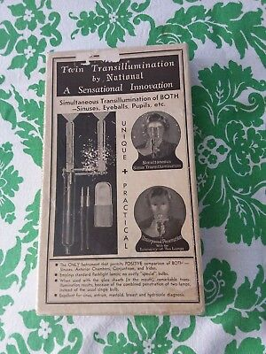 "RARE ""TWIN TRANSILLUMINATION"" by National MEDICAL DEVICE - COMPLETE WITH BOX"
