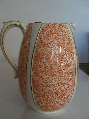 Edwin Bodley China Pitcher Orange Floral Vine Gold Trim EJDB Burslem England