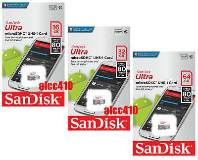 Sandisk Ultra 16GB 32GB 64GB 80MB/s Micro SD SDHC SDXC Class 10 Phone Tablet AU