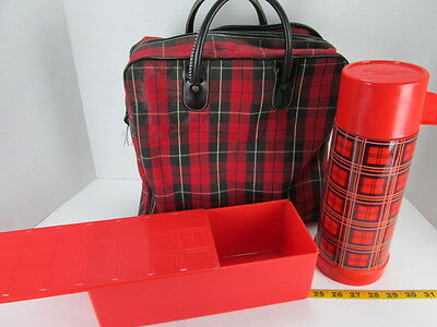 Vintage Aladdin Picnic Set Thermos Lunch Box Plaid Bag Travel Container Retro S
