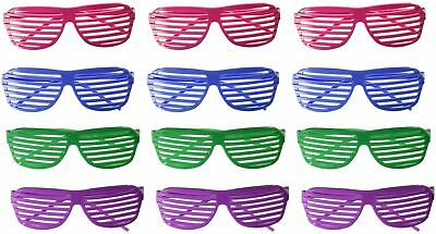Set of 12 Pairs of Party Plastic Shutter Glasses Shades Sunglasses Eyewear