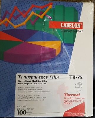 """Labelon Thermal Transparency Film 100 sheets 8 1/2"""" x 10 1/2"""" TR-75"""