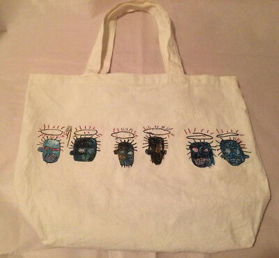 Jean Michel Basquiat-Artist Skulls Design White Canvas Tote Bag-MOCA