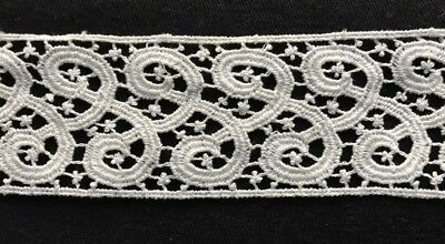 """18 1/2"""" Old Vintage  Remnants, Salvage of Chemical Lace Trim Edging  2"""" wide"""