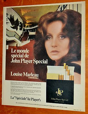 Louise Marleau For French 1974 John Players Special Cigarettes Canadian Ad