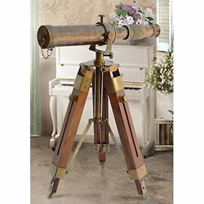 Brass Antique Vintage Telescope Scope W/ Wooden Stand Home Decor Gift Nautical