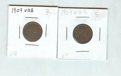 pair of 1909 V.D.B. Lincoln Cents, nice pieces