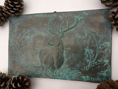 Aged bronze effect stag wall art, stag garden plaque, antique ornament gift