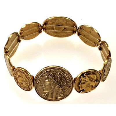 Antique VTG Style Roman Coins Solid Brass High Relief Portrait Stretch Bracelet