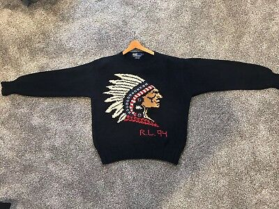 Vintage Ralph Lauren Indian Head 94 Sweater Sz L Rare Collector