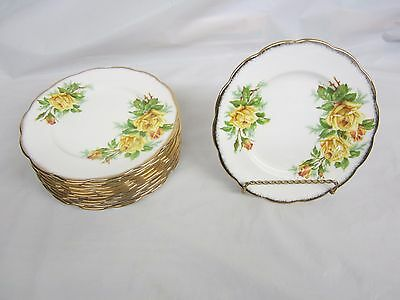 Lot of 12  Royal Albert Yellow Tea Rose Desert -Salad Plates 7 and 1/8 inches