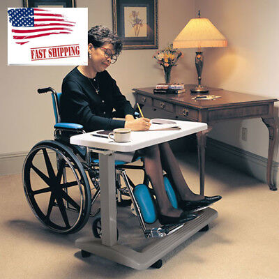 Over the Bed Hospital Wheelchair Tray Adjustable Bedside Table Large Surface New