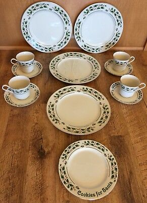JAPAN FINE CHINA CHRISTMAS HOLLY BERRY DINNERWARE 12 Pc Gold Trim Potter Smith