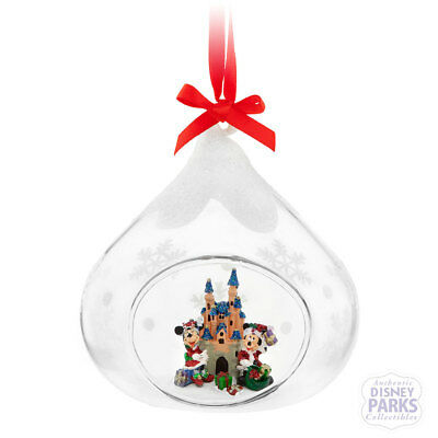 Disney Parks Mickey & Minnie Mouse Glass Drop Castle Ornament Holiday Christmas