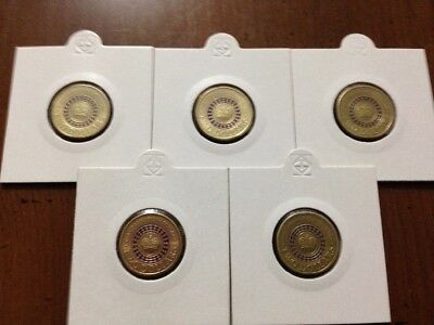 5 x RARE 2013 $2 Purple Queens Coronation Coins 4 x Lightly Circulated + 1 UNC