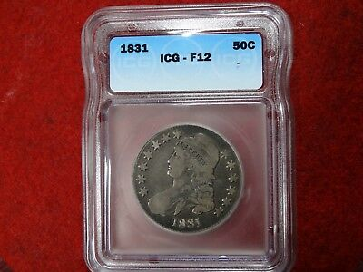 1831 Capped Bust Half Dollar , ICG F12 , Toned