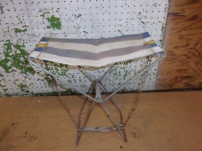Vintage Camping Camp Chair Stool Hunting Fishing Metal Folding Chain