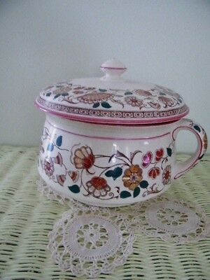 "Vintage  Lidded Chamber Pot, Colorful Burgundy & Green Floral 9"" Tall X 26"" Body"