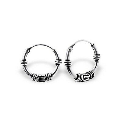 925 STERLING SILVER BALI EAR HOOPS 12-16mm SILVER EARRINGS