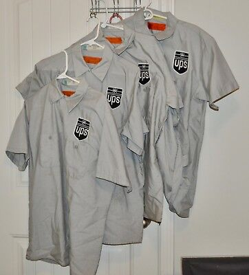 Lot of 4 UPS United Parcel Service Gray Delivery Man Uniform Shirt Size L