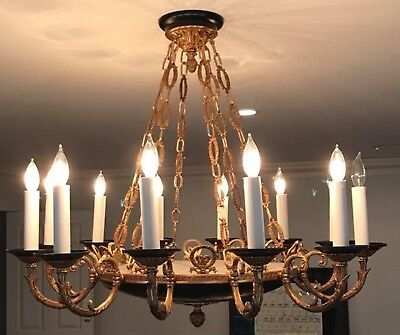 """Vintage French Empire Brass Black Tole Chandelier 12 Light No Crystal 36"""" wide"""