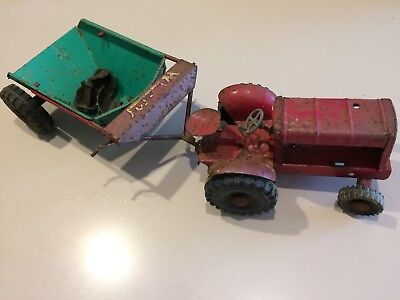Vintage Toy Tin Tractor and Trailer