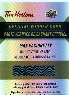 2017-18 Upper Deck Tim Hortons Jersey Relic Cards Max Pacioretty REDEMPTION HABS