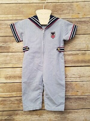 Little Bitty 24 Months Boys Vintage Sailor Overalls One Piece Outfit USA Romper