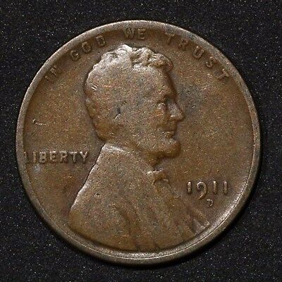 "1911-D Lincoln Wheat Cent Penny / G+ ""Good Plus"" / Free Shipping"