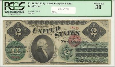 1862 $2 LT FR-41, SN #117-18718, Ty. 2 Seal; Face plate # at left, PCGS VF-30