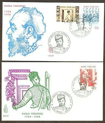 Vatican City Sc# 816-18, Death of Pablo Veronese on 2 First Day Covers