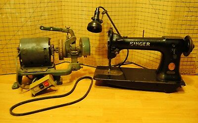 Antique 1911 Singer Industrial Sewing Machine with Motor Clutch Assembly