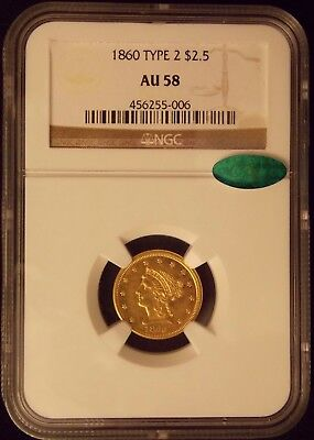 1860 $2.50 Ngc Au-58 & Cac Green Sticker - Best Ebay Price For Date And Grade