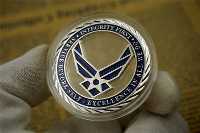 Americn Army U.S. Air Force / Core Values - USAF Brass Challenge Coin Badge