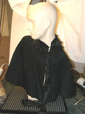 Antique Victorian Or Edwardian Black Beaded Wool, Lace Capelet - Mourning Piece